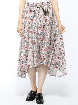 レーヨンフラワープリントフィッシュテールスカート