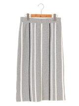 マルチストライプ ミディアムタイトスカート