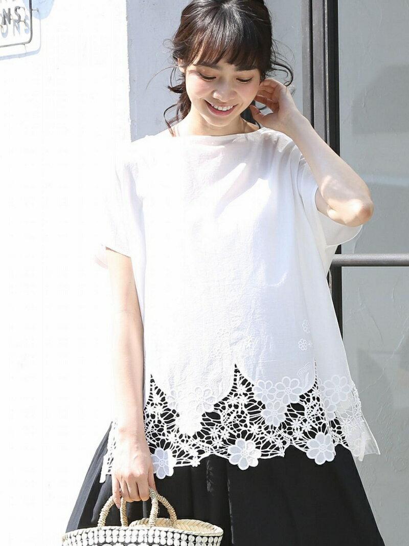 coen 裾レースコンビボートネックTシャツ(ブラック→WEB限定カラー) コーエン カットソー