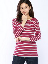(W)ループロゴボーダー柄ボートネック7分袖Tシャツ