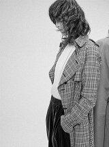 wool check 2way long trench coat
