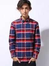 (M)コットンチェックオックスフォードシャツ