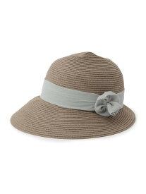 【SALE/60%OFF】SHOO・LA・RUE シフォン巻きバラモチーフペーパー混ハット シューラルー 帽子/ヘア小物 ハット グレー ブラウン