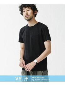 nano・universe <汗染み防止>Anti Soaked フィットクルーネックTシャツ ナノユニバース カットソー Tシャツ ブラック グレー ホワイト【送料無料】