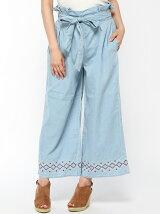 ライトオンスデニム裾刺繍ワイドパンツ
