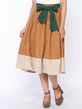 配色デザインウエストリボンスカート