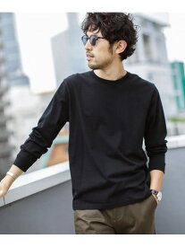 nano・universe 《WEB限定》超長綿リラックスフィットクルーネックTシャツ 長袖 ナノユニバース カットソー Tシャツ ブラック ブルー ホワイト
