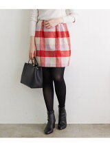 ブロックチェックシャギー台形ミニスカート