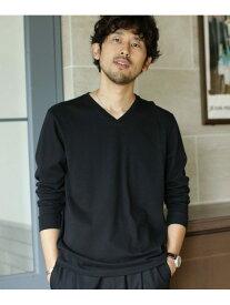nano・universe 《WEB限定》超長綿リラックスフィットVネックTシャツ 長袖 ナノユニバース カットソー Tシャツ ブラック ブルー ホワイト