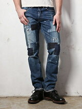 SAN JOAQUIN SALVAGE DENIM /POUCH WORK REMAKE TAPERED SLIM JEANS