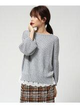ワイド袖ニット+裾レースキャミソール