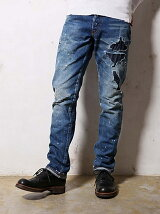 SAN JOAQUIN SALVAGE DENIM /REAL REMAKE  TAPERED SLIM JEANS