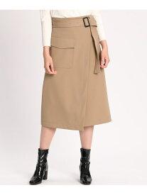 【SALE/50%OFF】INED アシンメトリーラップスカート イネド スカート 台形スカート/コクーンスカート ブラウン ネイビー【送料無料】