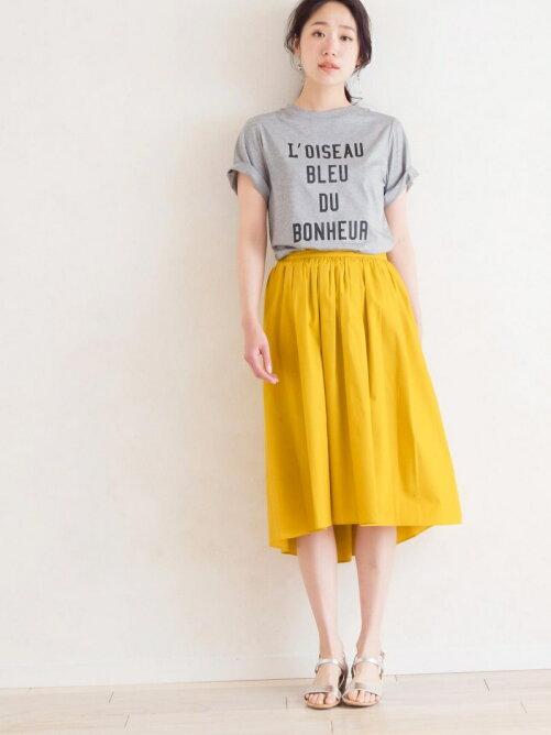 イレギュラーヘムコットンギャザースカート