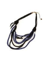 (W)マルチカラー編み込み12連ネックレス