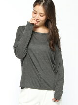 (W)ウール混長袖ボックスTシャツ・カットソー