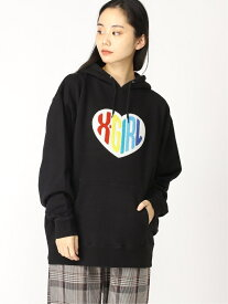 X-girl HEART LOGO SWT HDY エックスガール カットソー パーカー ブラック パープル ホワイト【送料無料】