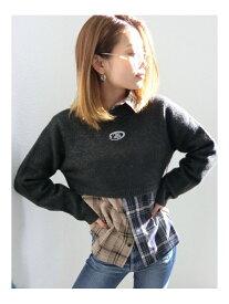 GYDA switchingチェックシャツ ジェイダ シャツ/ブラウス シャツ/ブラウスその他 ベージュ レッド【送料無料】