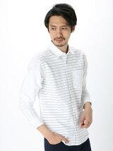 Men's ボーダー天竺切替 長袖レギュラーシャツ