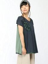 カットワークチュール刺繍×天竺チュニック