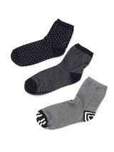 (W)マルチプリントソックス・靴下3足セット