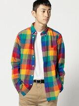BEAMS / マルチブロック ボタンダウンシャツ