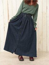 (W)フロントボタンフレアースカート