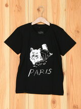 [U]PARIS Cat Illust Kids Tee