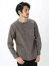 Men's コンパクトメッシュ ノーカラープルオーバーシャツ