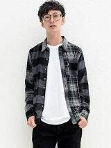 サンセットワンポケットシャツ-PIECED GREY