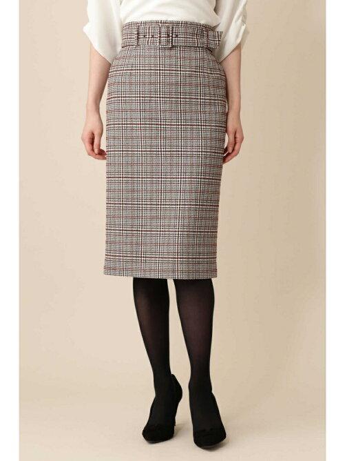 ウールグレンチェックタイトスカート