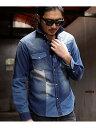 RATTLE TRAP クレイジーパターンデニムウエスタンシャツ メンズ ビギ シャツ/ブラウス 長袖シャツ ブルー ブラック【…