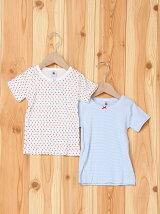(K)ピコレースプリント&ミラレ半袖Tシャツ2枚組