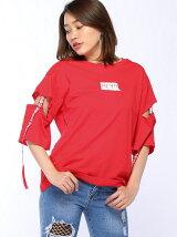 アーム空きロゴテープTシャツ
