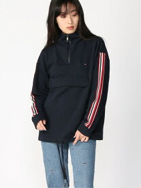 【SALE/50%OFF】TOMMY HILFIGER (W)TOMMY HILFIGER(トミーヒルフィガー) モックネックスウェット トミーヒルフィガー カットソー スウェット ネイビー レッド【送料無料】