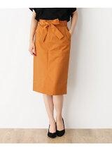 〔洗える〕サッシュリボン付きタイトスカート