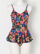 Retro Botanical Flower OP swim Wear