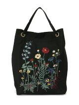冬のお花刺しゅうバッグ