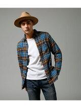 バックスタープリント長袖チェックシャツ