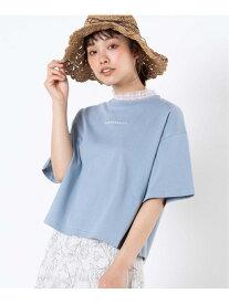 WEGO WEGO/(L)シャーリングネックロゴT ウィゴー カットソー Tシャツ ブルー ブラック ベージュ ホワイト
