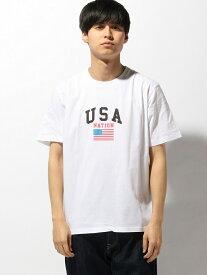 WEGO WEGO/(M)カレッジロゴT(S) ウィゴー カットソー Tシャツ ホワイト ブラック