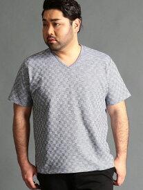 【SALE/46%OFF】HIDEAWAYS(大きいサイズ) <大きいサイズ>チェック柄Vネックカットソー ニコル カットソー Tシャツ ブラック ホワイト グレー ネイビー パープル【RBA_E】