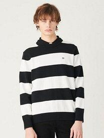 Calvin Klein Jeans 【カルバン クライン ジーンズ】 メンズ コットン ニット CKJ カルバン・クライン ニット 長袖ニット ブラック レッド【送料無料】
