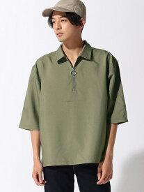 AOZORA CORISCO/(M)ポリトロ5ブソデハーフジップシャツ サンコーバザール シャツ/ブラウス シャツ/ブラウスその他 カーキ グレー ブルー ネイビー ピンク ブラック ベージュ