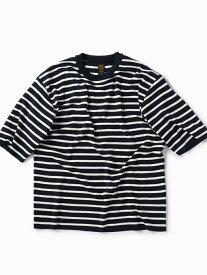 SHIPS BATONER:別注スムースボーダーニットTシャツ シップス ニット 長袖ニット ネイビー ホワイト ブラウン【送料無料】
