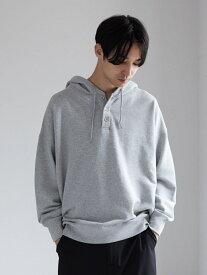 koe Men's TC裏毛3つ釦パーカー コエ カットソー Uネックカットソー グレー ブラウン ブルー【送料無料】