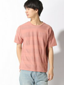 GLOBAL WORK (M)シックカラージャガードT グローバルワーク カットソー Tシャツ ピンク ブラック ブルー ホワイト