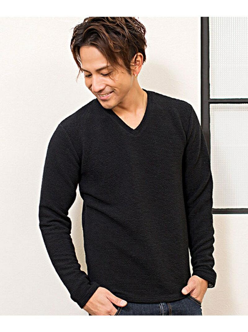 CavariAふくれボーダー柄Vネック長袖Tシャツ シルバーバレット カットソー【送料無料】