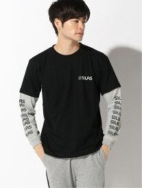 SILAS SLEEVE CHANGE LS PRINT TEE サイラス カットソー Tシャツ ブラック グレー ネイビー ホワイト【送料無料】