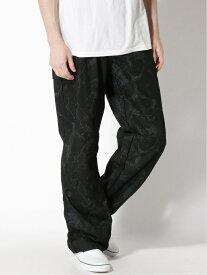 ALASKO T/C キングサイズ クラックプリント カーゴパンツ アラスコ パンツ/ジーンズ カーゴパンツ ブラック グレー